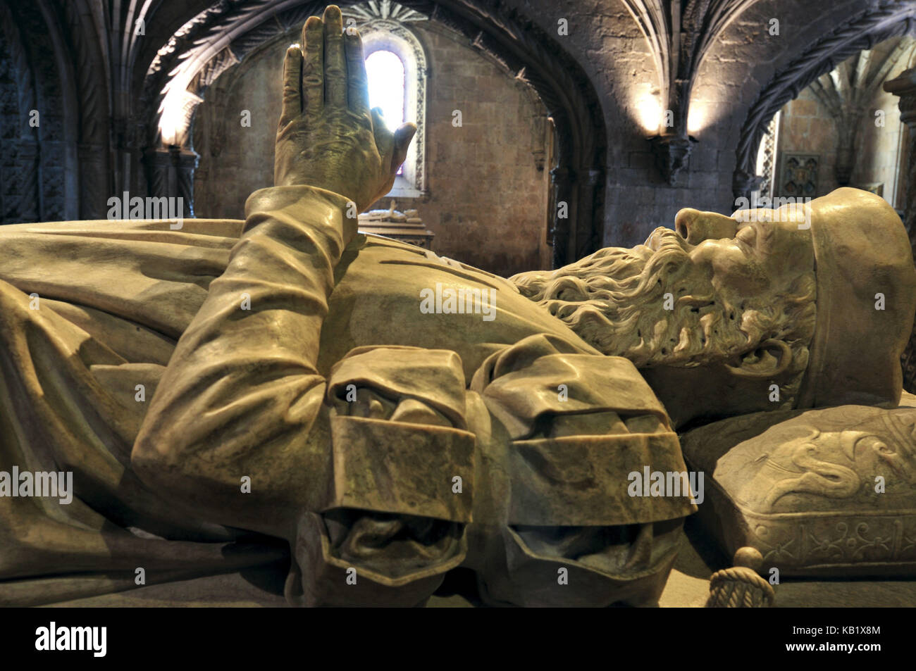 Portugal, Lisbon, tomb of the discoverer Vasco da Gama in the Hieronymuskloster in Belém, - Stock Image