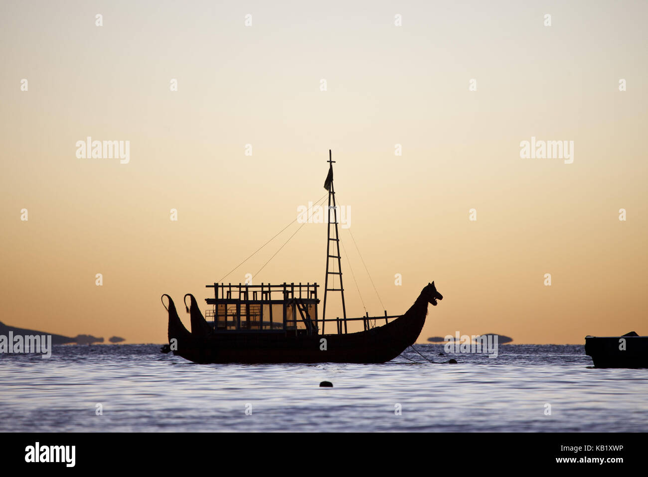 Bolivia, Titicacasee, Copacabana, sundown, reed Boat, - Stock Image