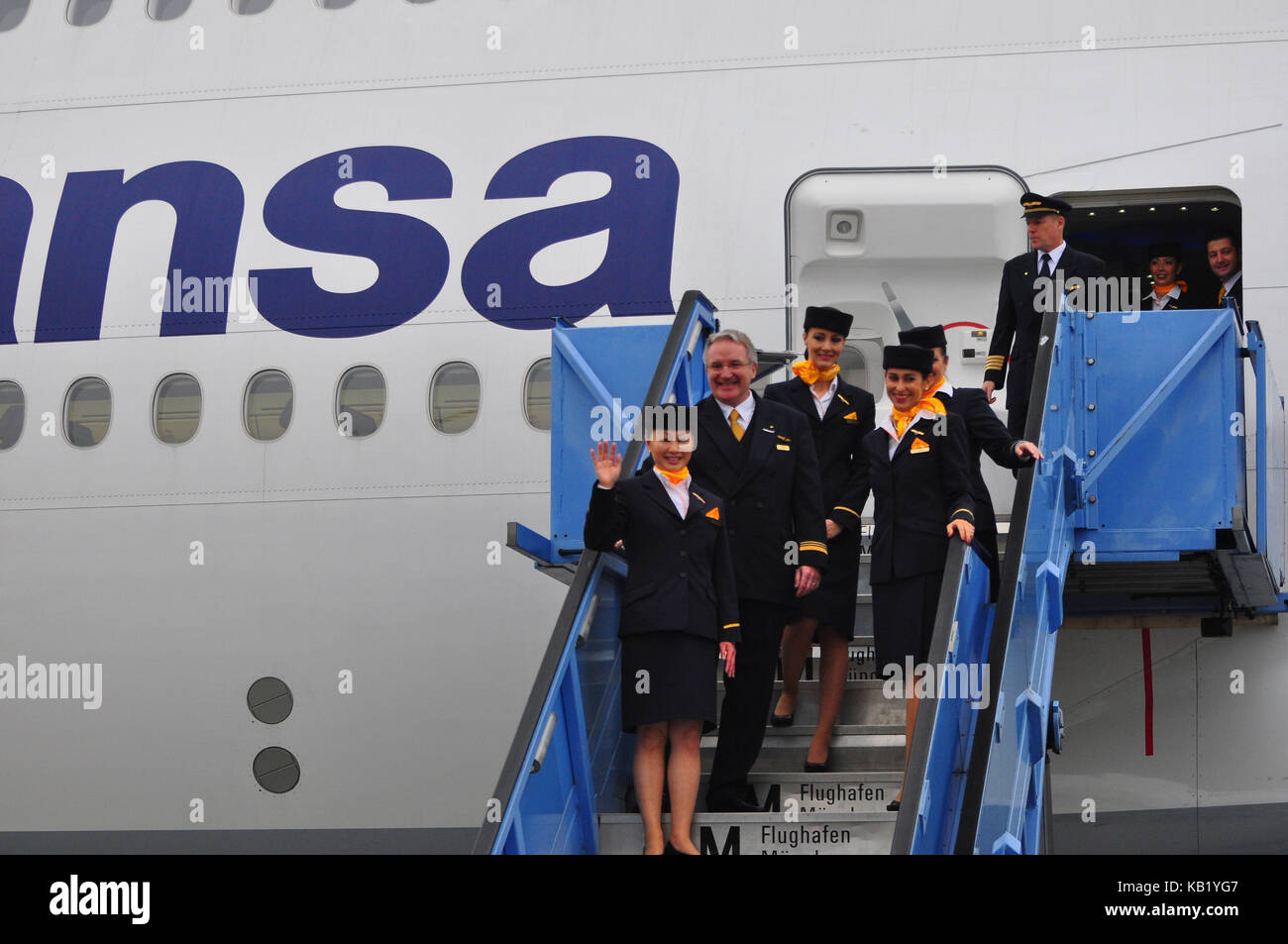 Civil aviation, air liner, crew, stairs, wave, - Stock Image
