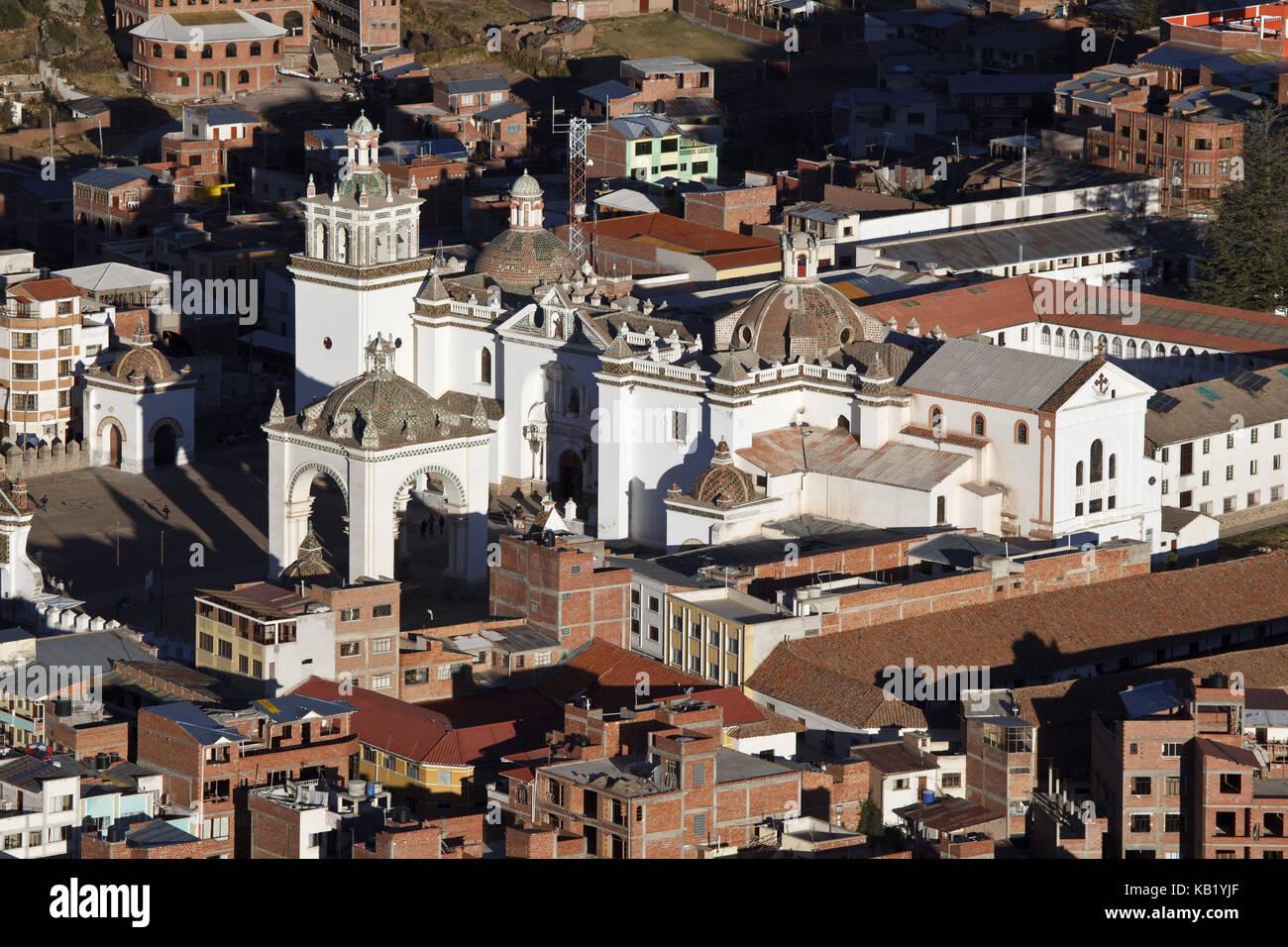 Bolivia, Titicacasee, Copacabana, townscape, Basilica de la Virgen de la Candelaria, - Stock Image