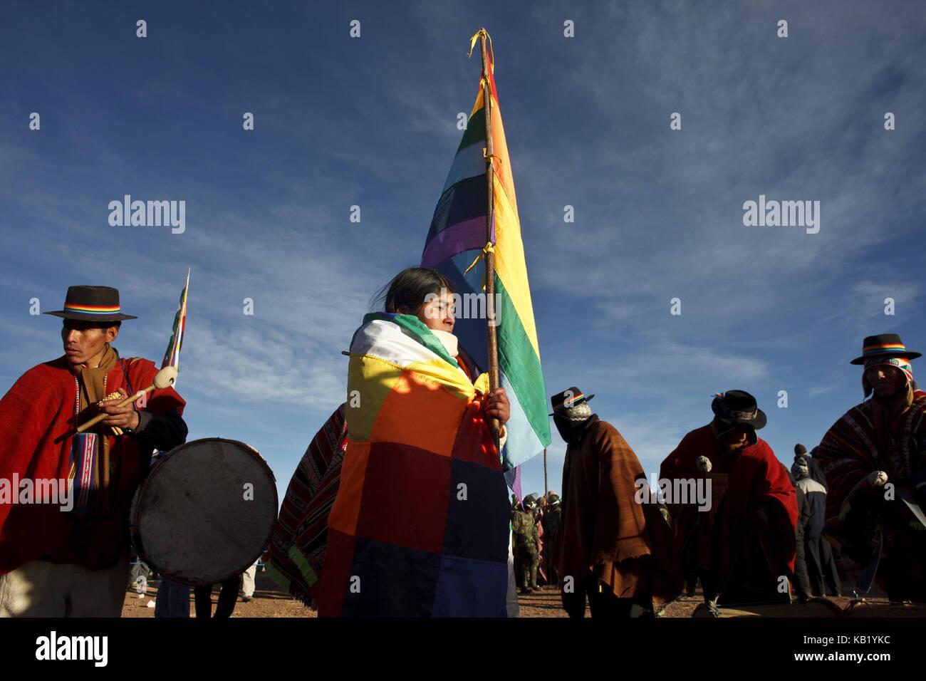 Bolivia, Tiahuanaco, Andines New Year festival, flag of indigenous people of Latin America, pilgrims, - Stock Image