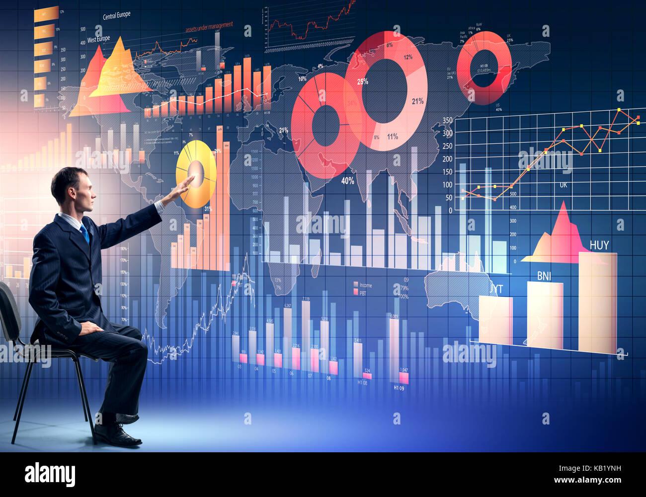 Businessman using media interface Stock Photo