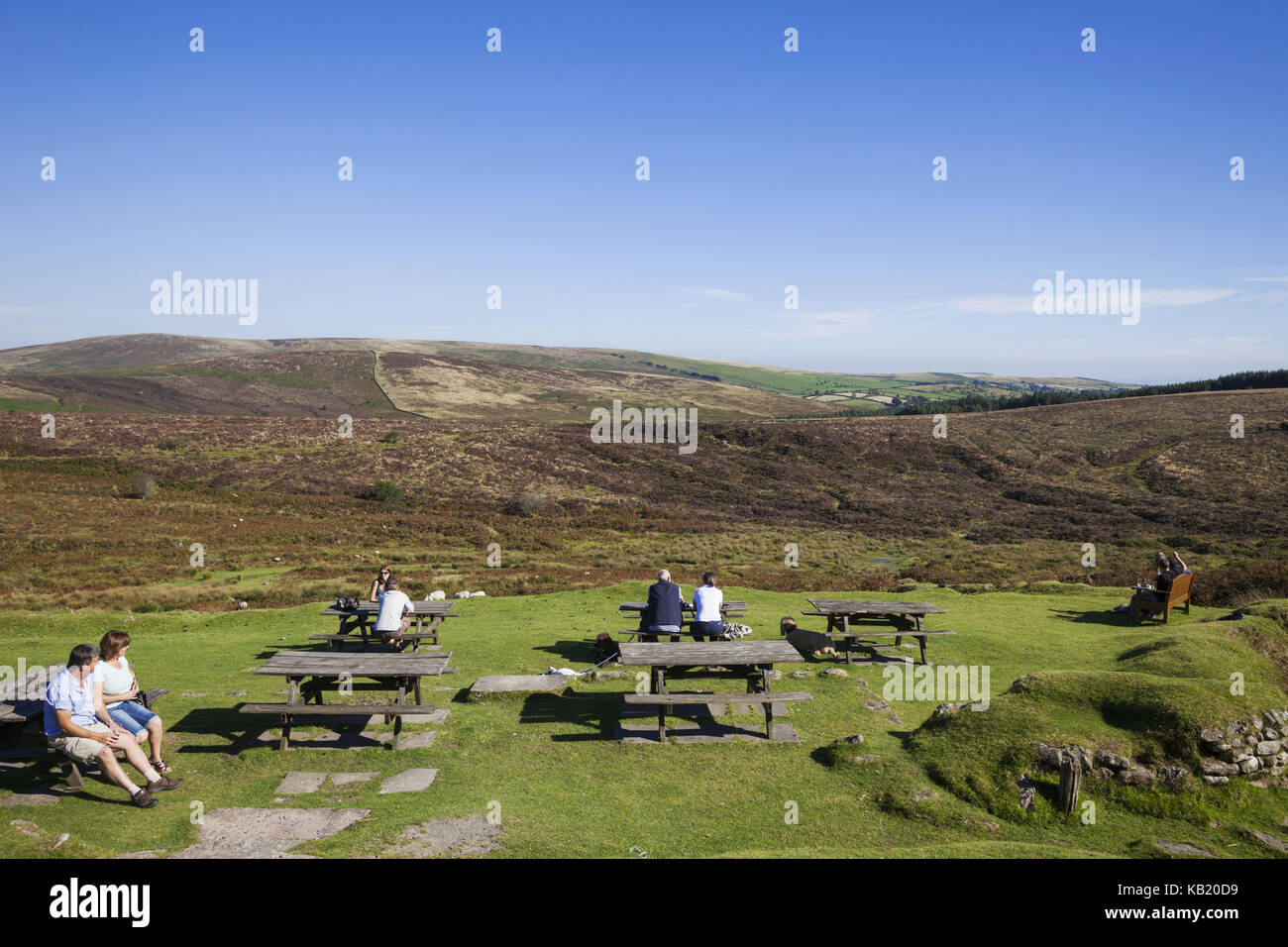 England, Devon, Dartmoor, lookout, resting place, tourist, - Stock Image