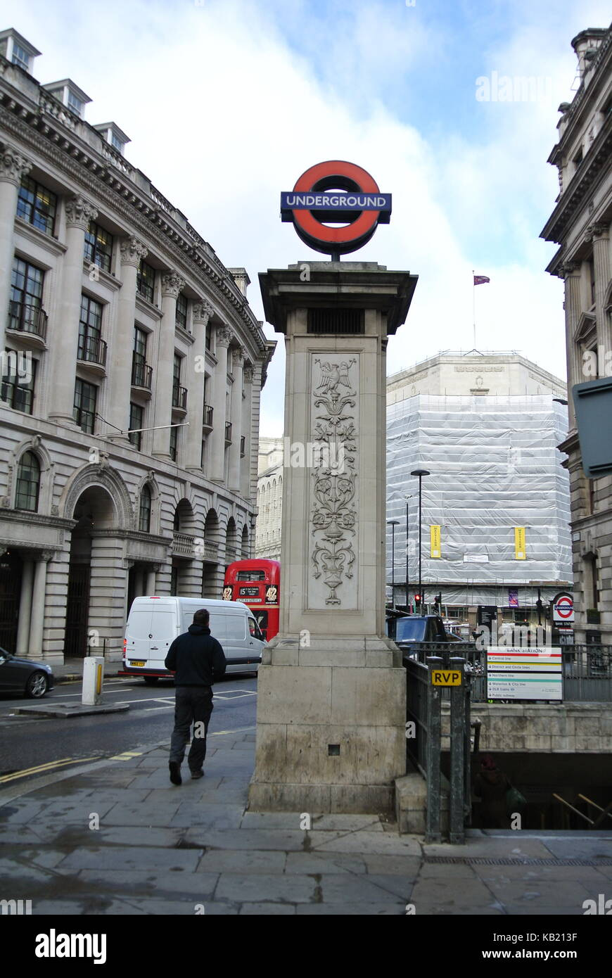 Stone column at the entrance to Bank Station, London Underground, London, England, UK - Stock Image