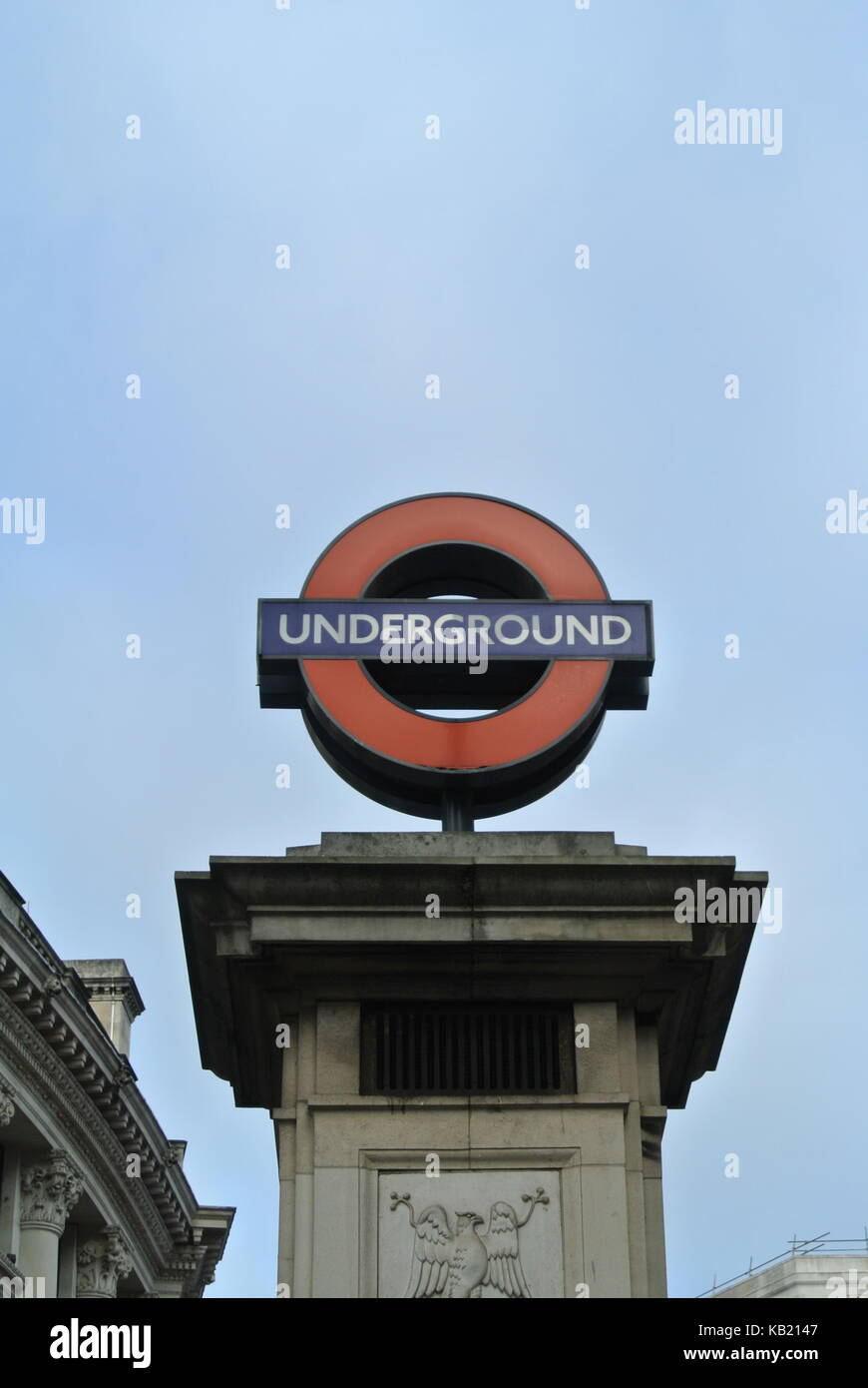 Underground sign on top of stone column, Bank Station, London Underground, London, England, UK - Stock Image