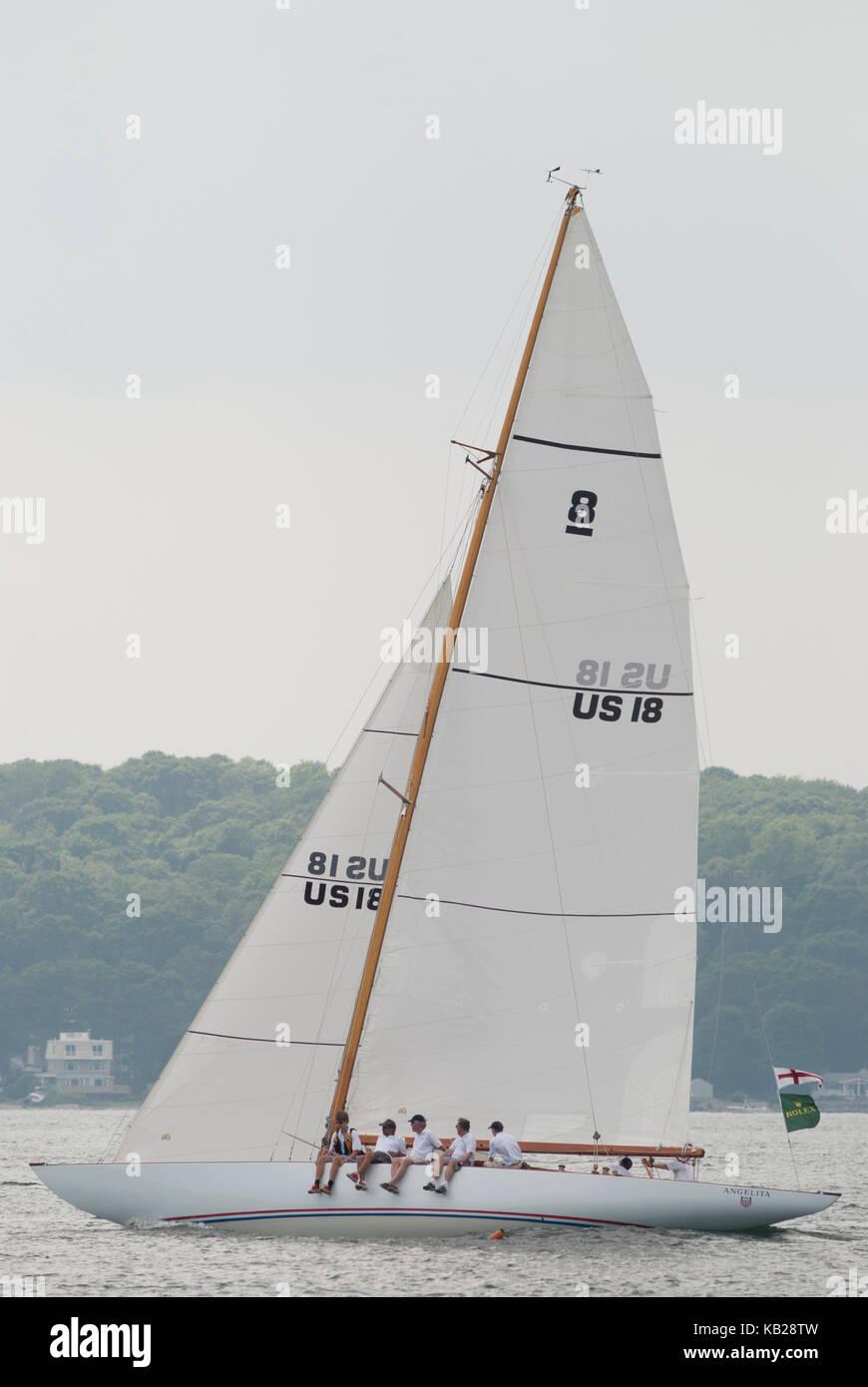 Sailboat Angelita, an 8M class double-ender built in 1928, sails in Narragansett Bay, Rhode Island. - Stock Image