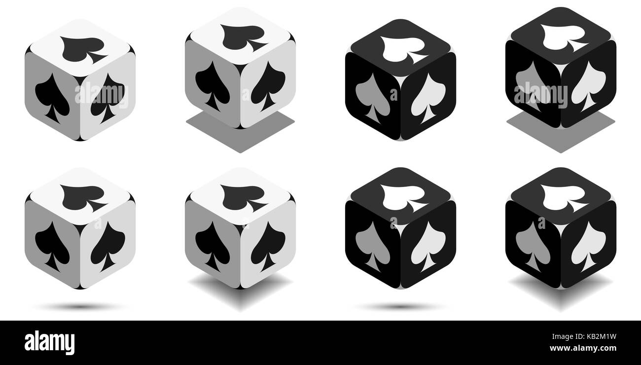 Cube with card spade in black and white colors, isometric cube with card suit on sides, vector icon of playing spade - Stock Image