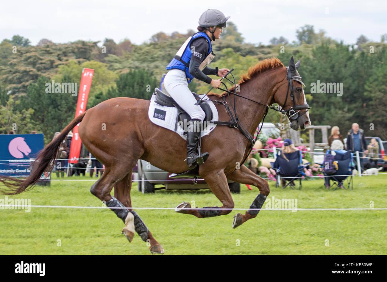 Lucienne Elms on MISTRALOU, SsangYong Blenheim Palace International Horse Trials 16th September 2017 - Stock Image