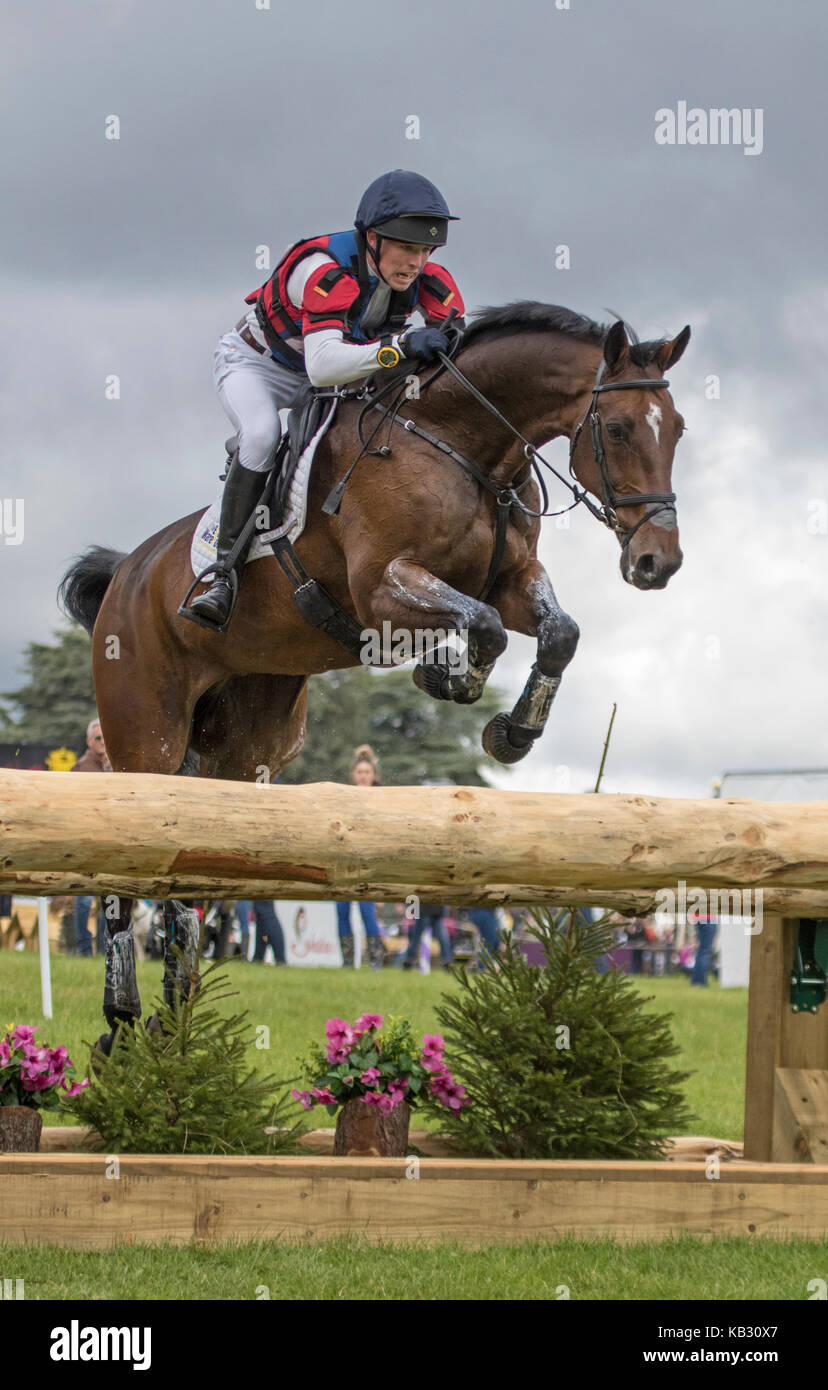 Daniel Alderson on FLYING FINISH, SsangYong Blenheim Palace International Horse Trials 16th September 2017 - Stock Image