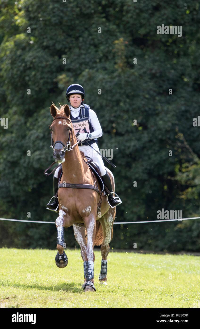 Hannah S Burnett on R F DEMETER, SsangYong Blenheim Palace International Horse Trials 16th September 2017SsangYong - Stock Image