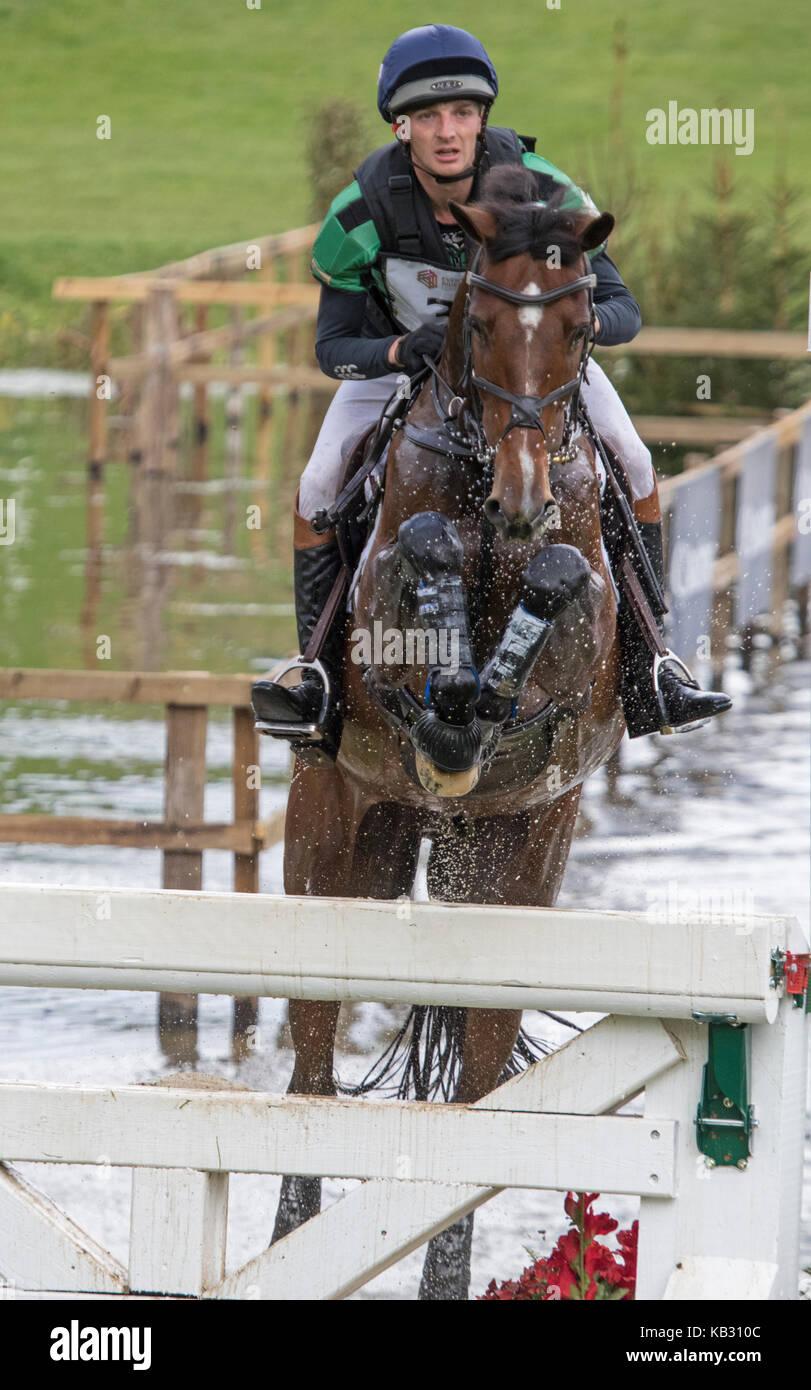 Tom Jackson on Waltham Fiddlers Find, SsangYong Blenheim Palace International Horse Trials 16th September 2017 - Stock Image