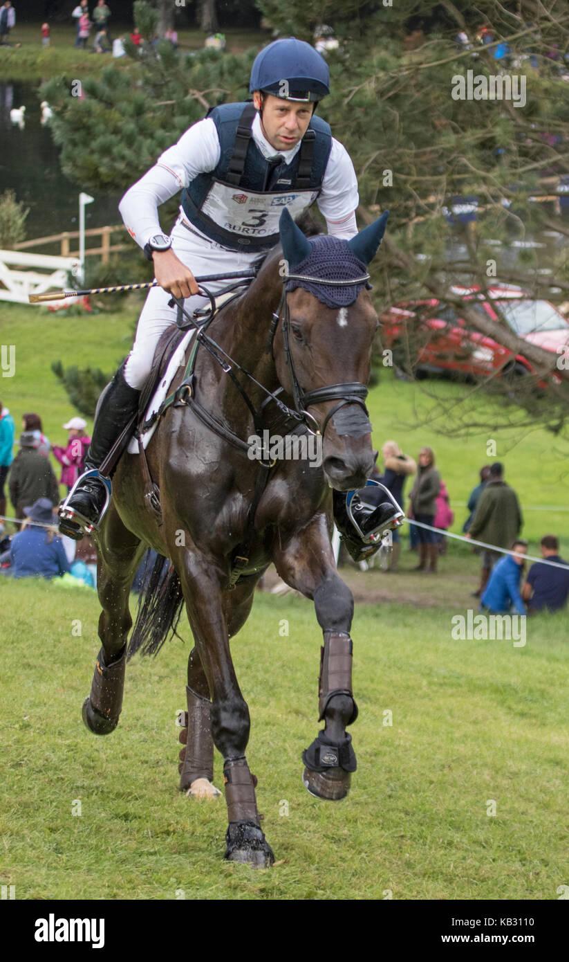 Christopher Burton on GRAF LIBERTY, SsangYong Blenheim Palace International Horse Trials 16th September 2017 - Stock Image