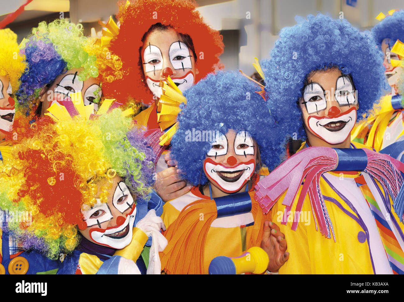 Portugal, Algarve, clown group while carnival procession of Loulé, - Stock Image