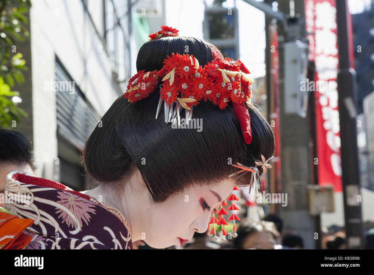 Japan, Honshu, Tokyo, Asakusa, Jidai Matsuri festival, geisha, Stock Photo