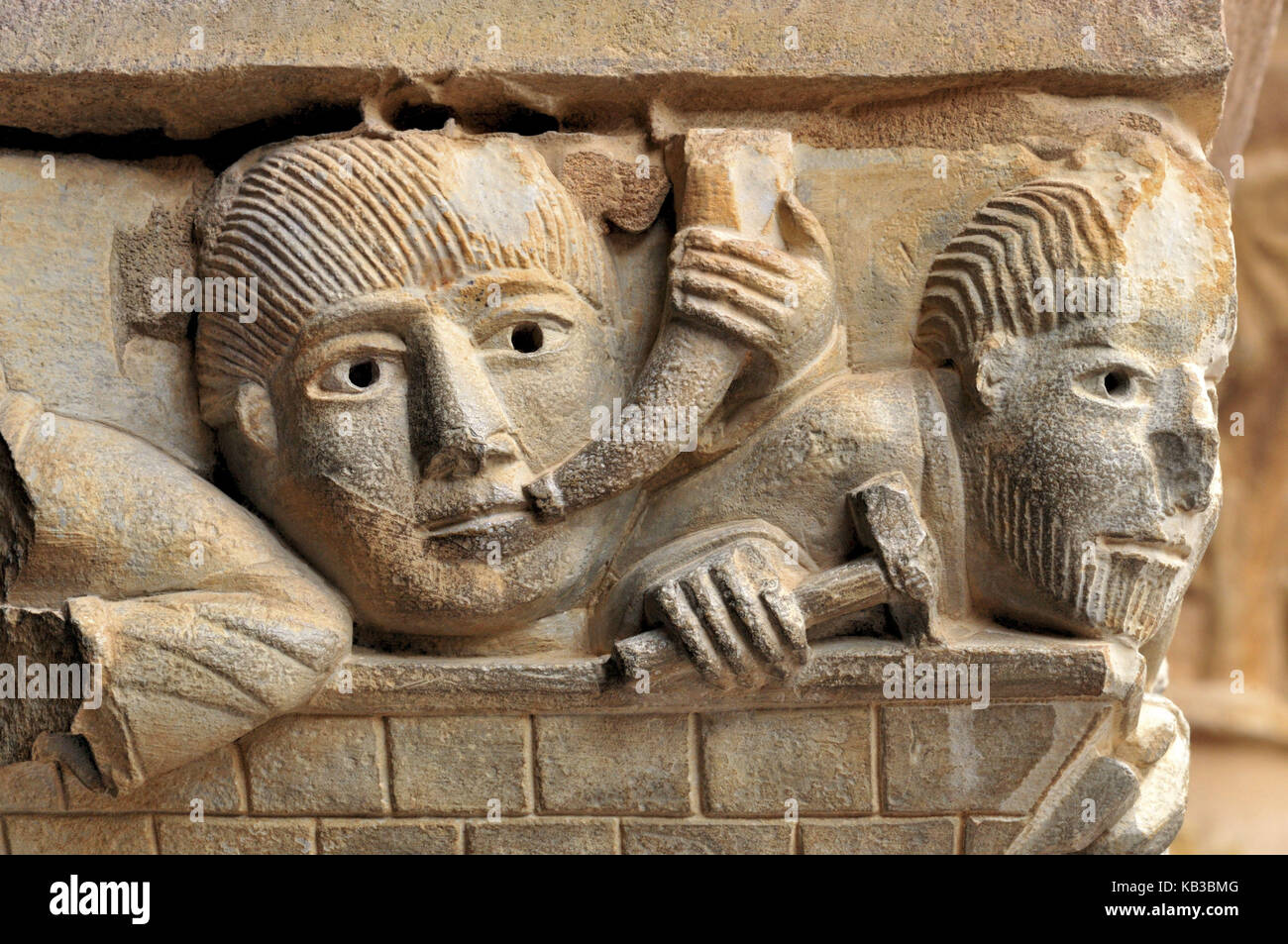 France, Midi-Pyrénées, Romanesque capital of the abbey St. Foy in Conques, - Stock Image