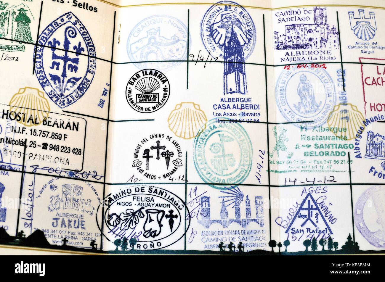 Spain, Way of St. James, stamped pilgrim's pass, - Stock Image