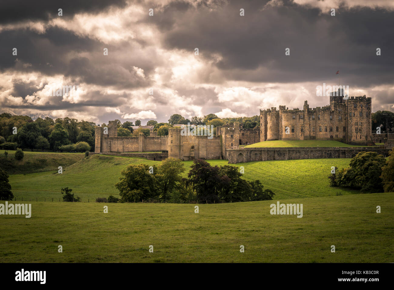 Alnwick Castle location for Harry Potter and Downton Abbey - Stock Image
