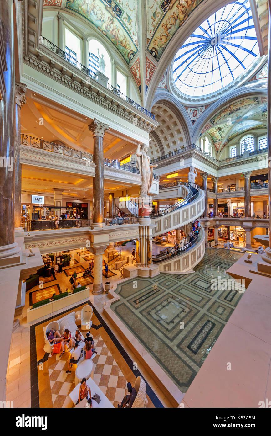 Interior view of Caesar's Forum Shoppes in Las Vegas Nevada. - Stock Image
