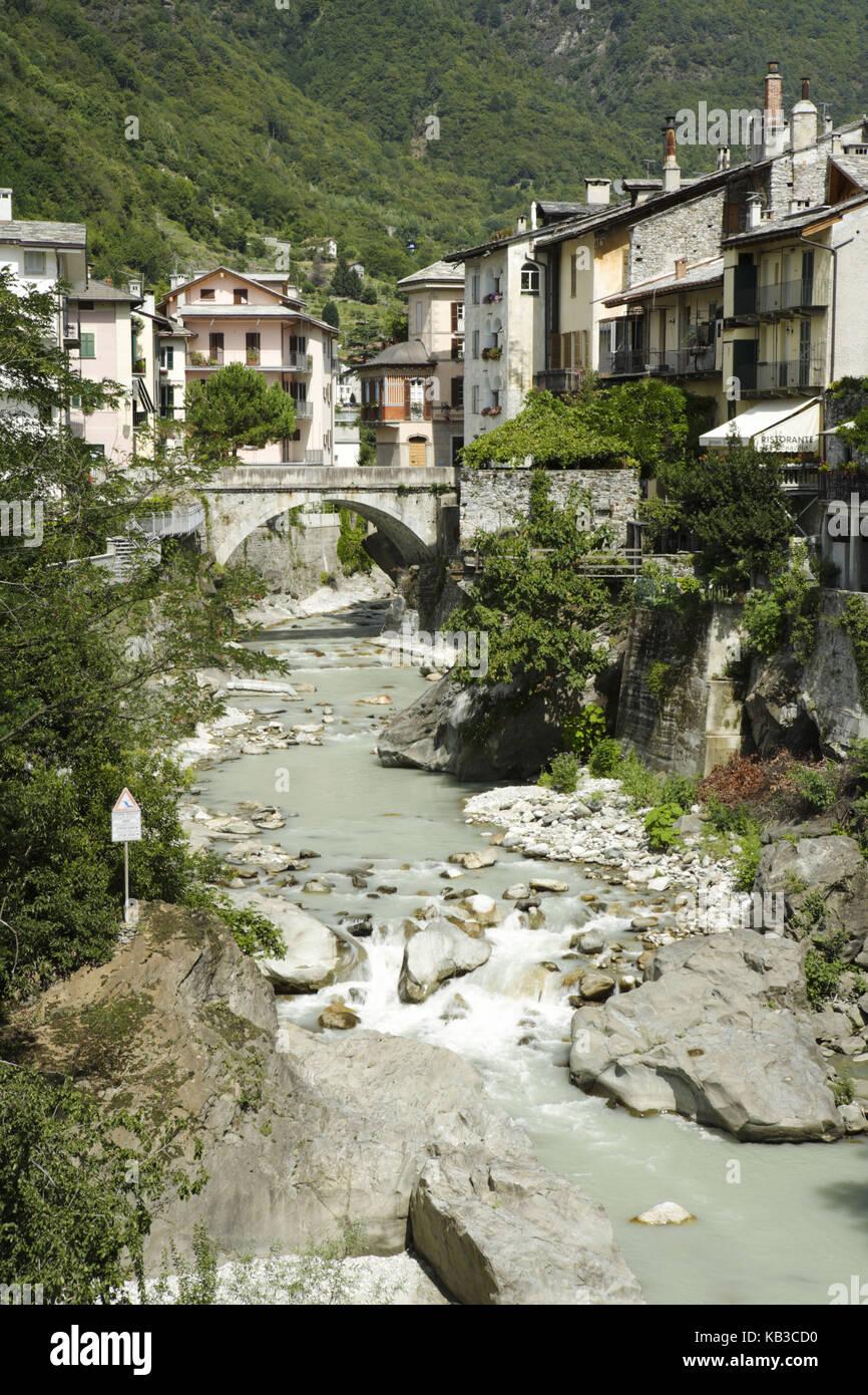 Terrace in the Mera, Chiavenna, Sondrio, Lombardy, Italy, Stock Photo