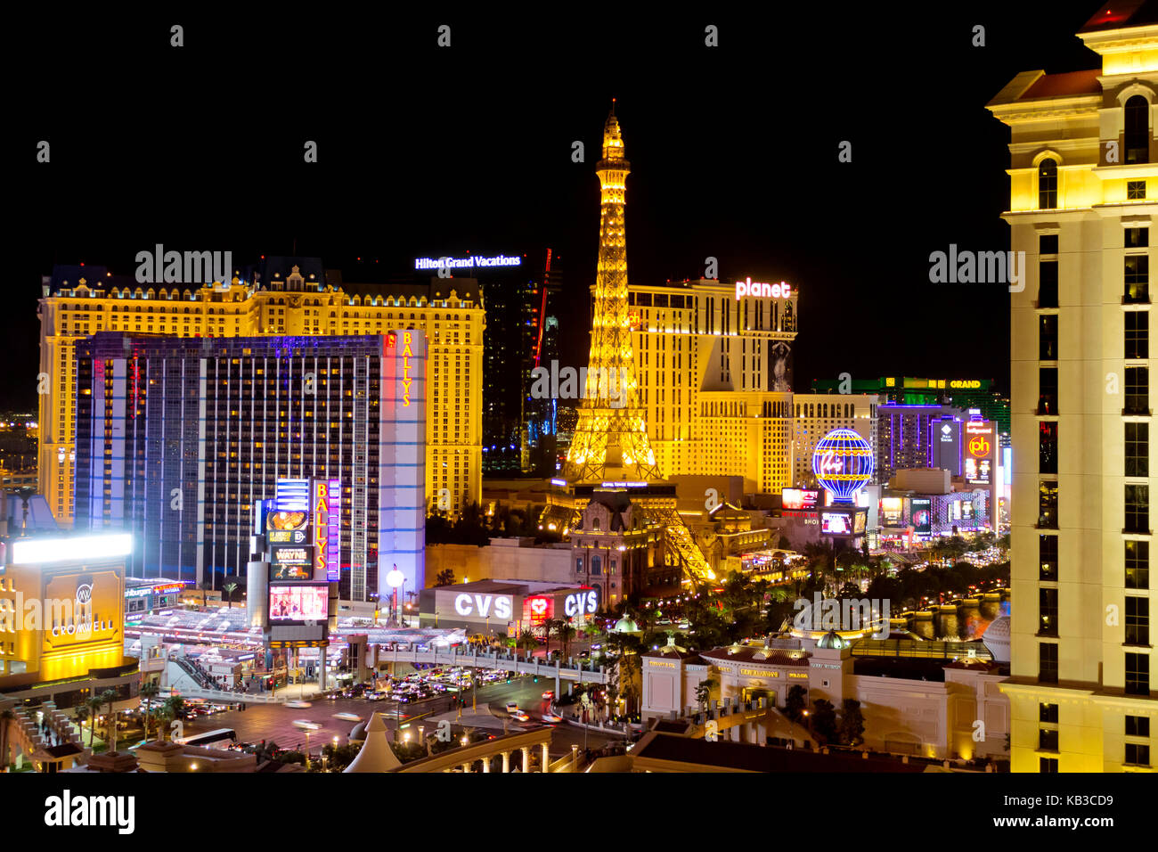A skyline nighttime view of several casino's and resort on Las Vegas Blvd in Las Vegas, Nevada. - Stock Image
