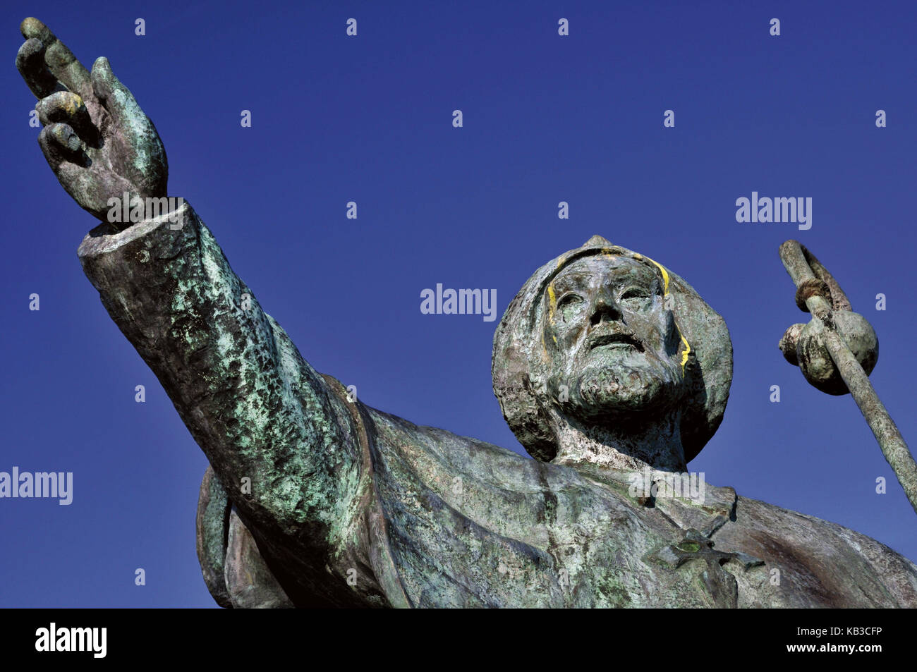 Spain, Way of St. James, pilgrim's monument in Monte do Gozo in San Marcos, - Stock Image