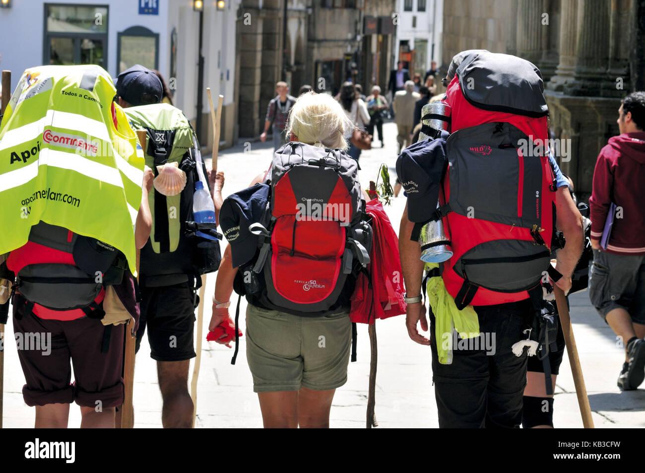 Spain, Way of St. James, jacobean pilgrim on arrival in Santiago de Compostela, - Stock Image