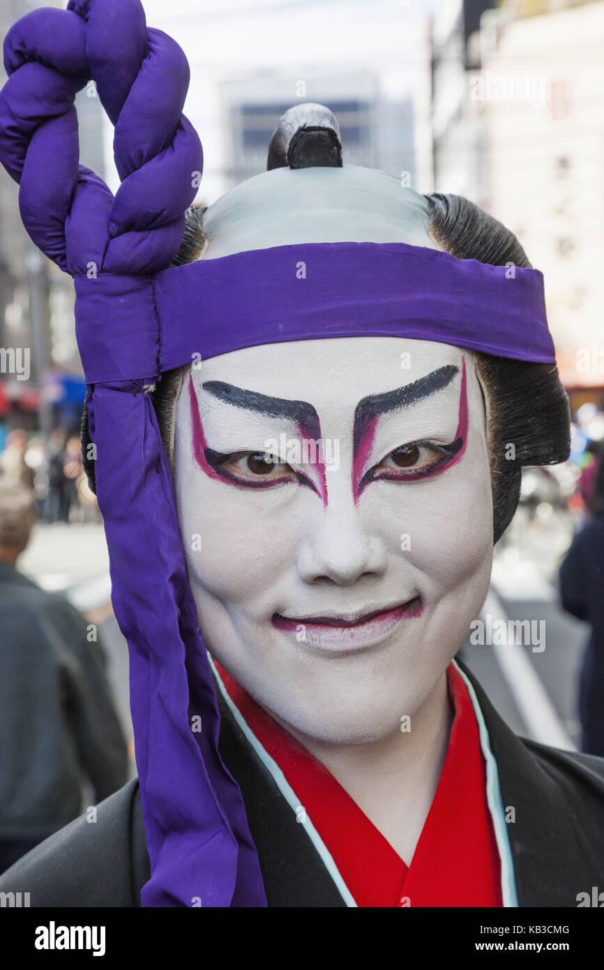 Japan, Honshu, Tokyo, Asakusa, Jidai Matsuri festival, participant, costume, facial painting, kabuki actor, portrait, - Stock Image