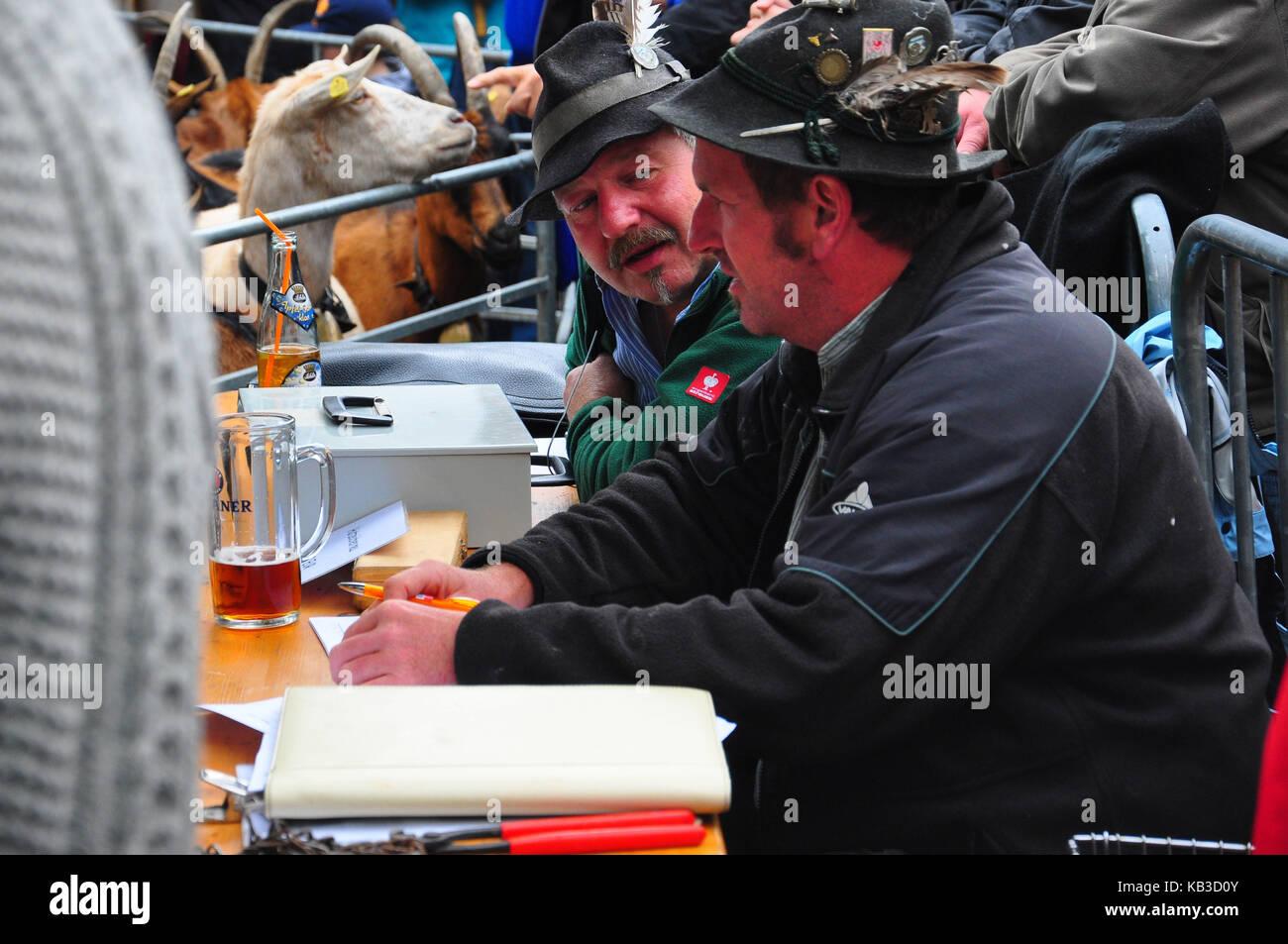 Germany, Bavaria, Isar valley, Mittenwald, Ziegenabtrieb, evaluation judge, - Stock Image