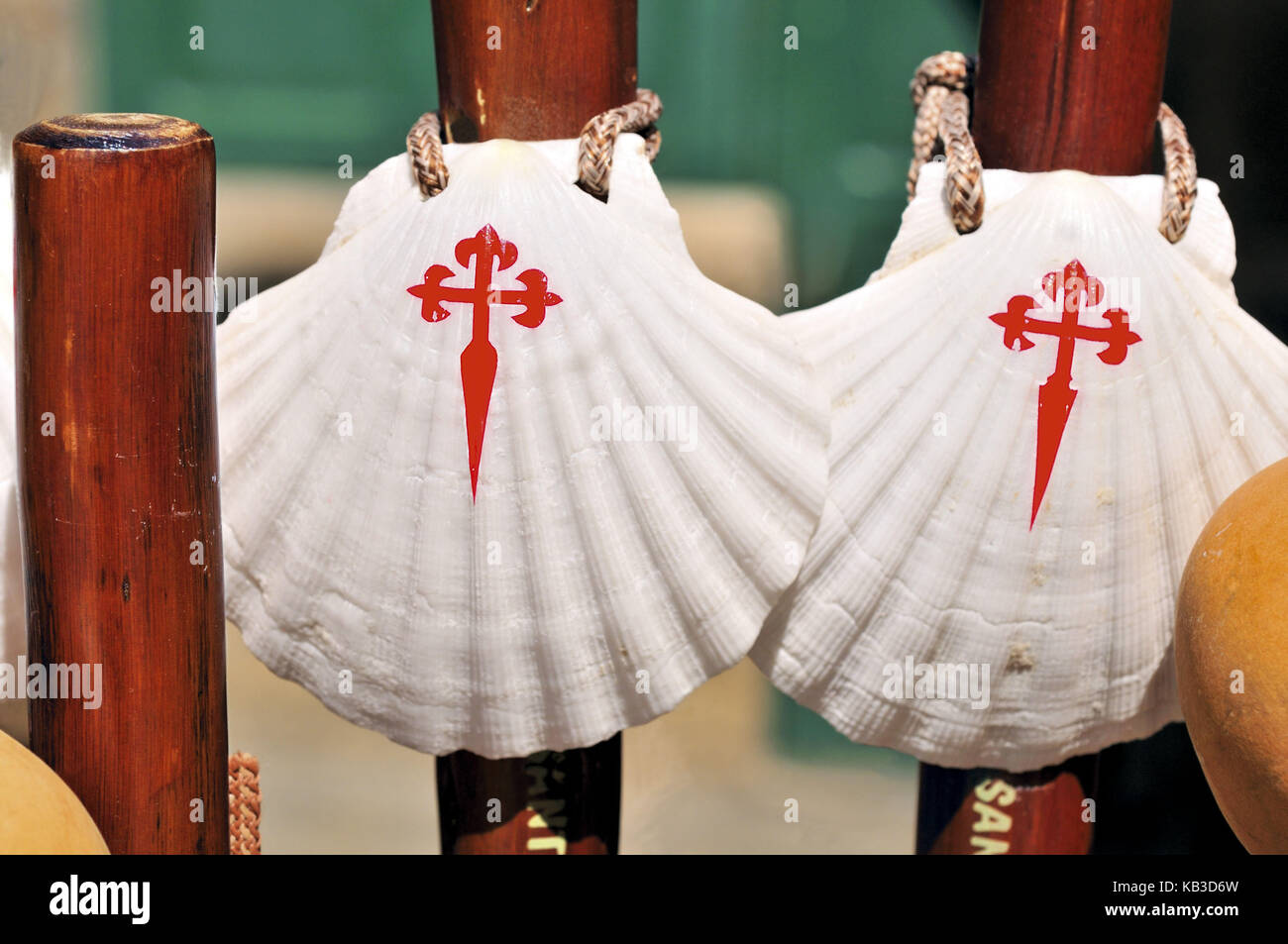 Spain, Way of St. James, pilgrim's implements and icons, - Stock Image