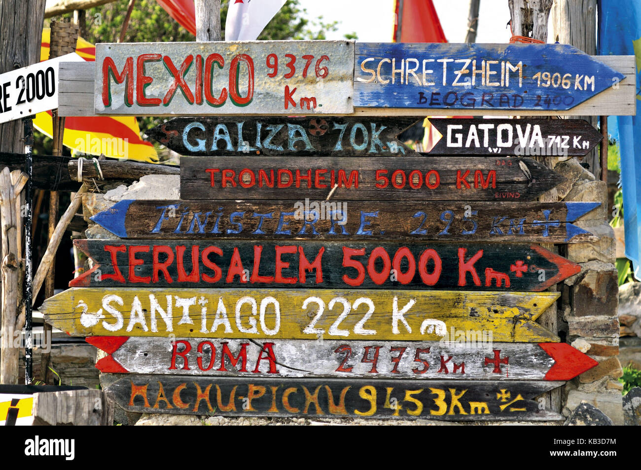 Spain, Way of St. James, jungle of road signs in front of the pilgrim's hostel of Manjarin, - Stock Image