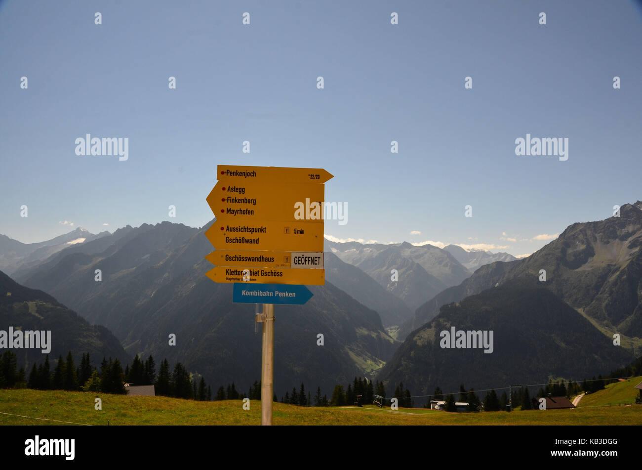 Austria, Tyrol, Zillertal, Mayrhofen, Penken, signpost, - Stock Image