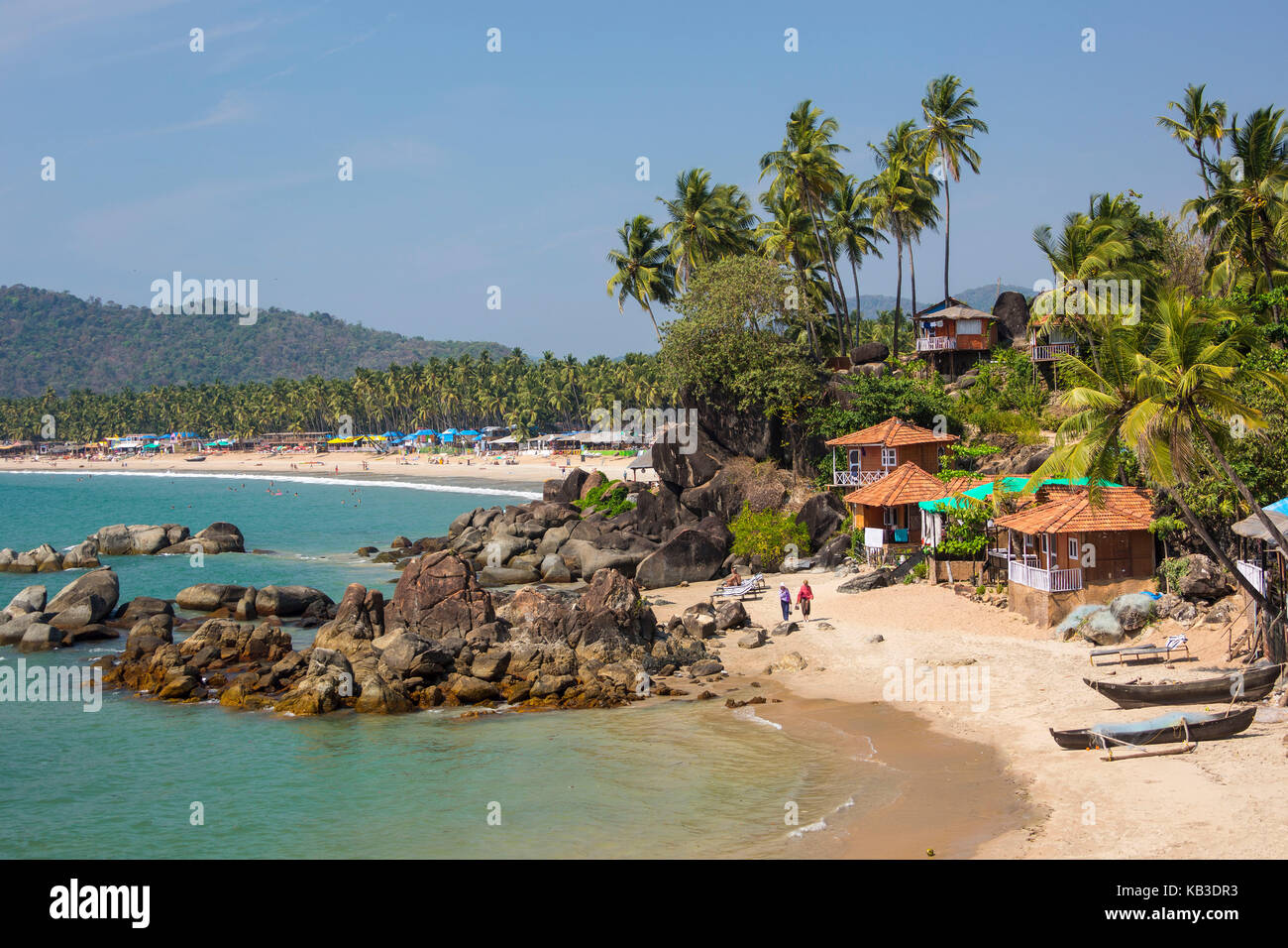 India goa beach of palolem palms and bungalows overview