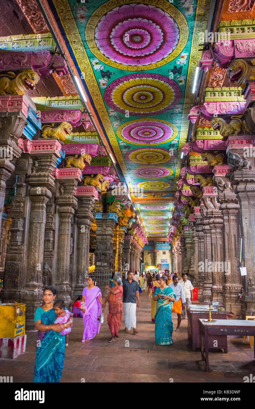 India, Tamil Nadu, Madurai, Minakshi temple, hall of thousand pillars Stock Photo