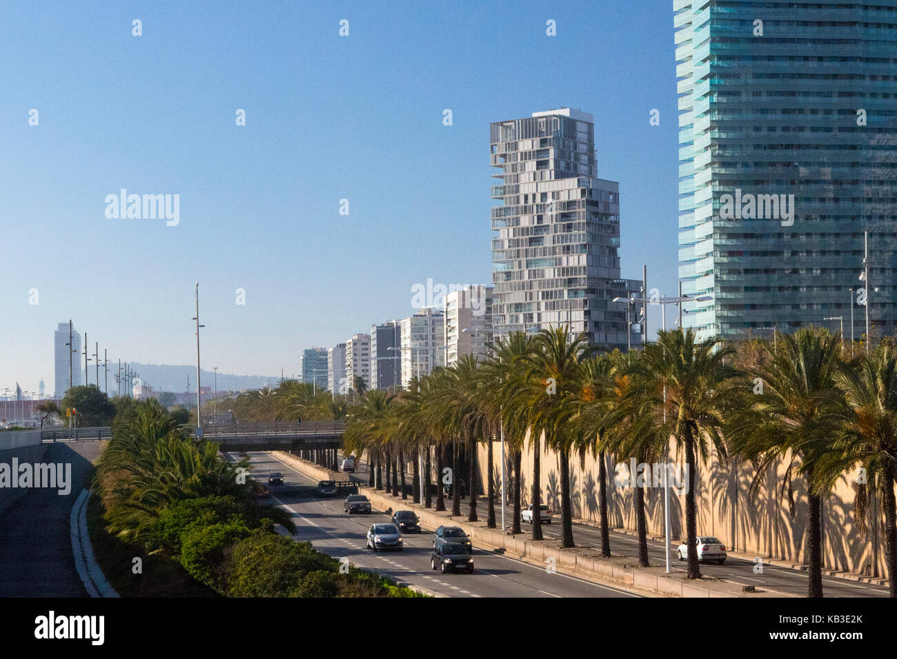 Spain, region Catalonia, Barcelona, district Diagonally Mar, freeway - Stock Image