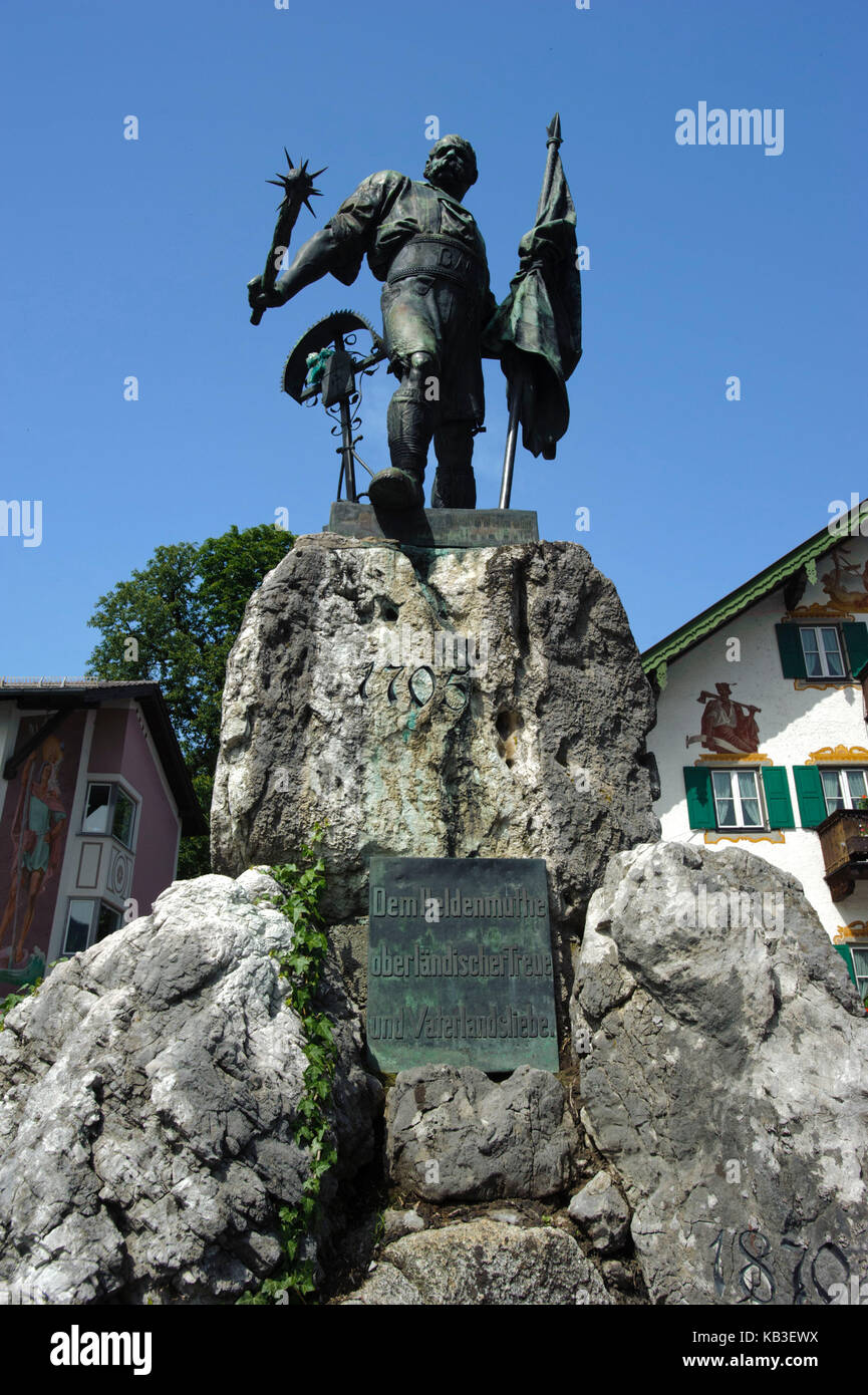 Monument for smith of Kochel, in the local centre of Kochel, as a recollection of the peasants' revolt and the - Stock Image