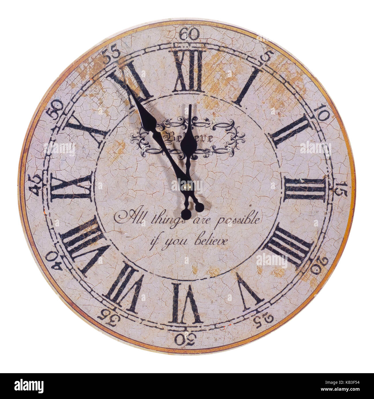 Antique clock, five minutes to twelve, - Stock Image