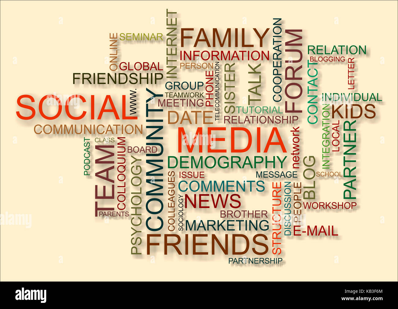 Definitions to the topic Social media, - Stock Image