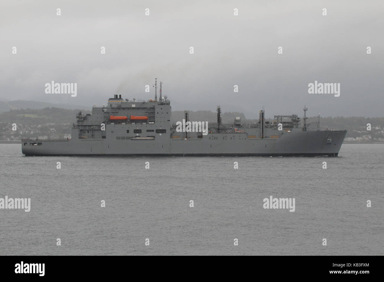 USNS Medgar Evers (T-AKE-13), a Lewis and Clark-class dry cargo vessel operated by the US Navy, arriving for Exercise Stock Photo