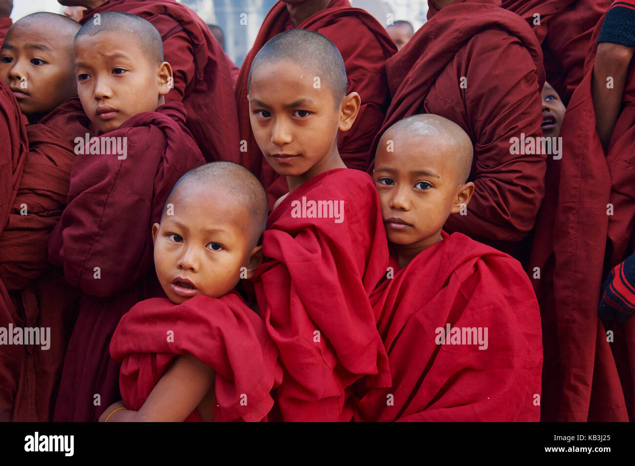 Monks in the Full Moon festival, Bagan, Myanmar, Asia, - Stock Image