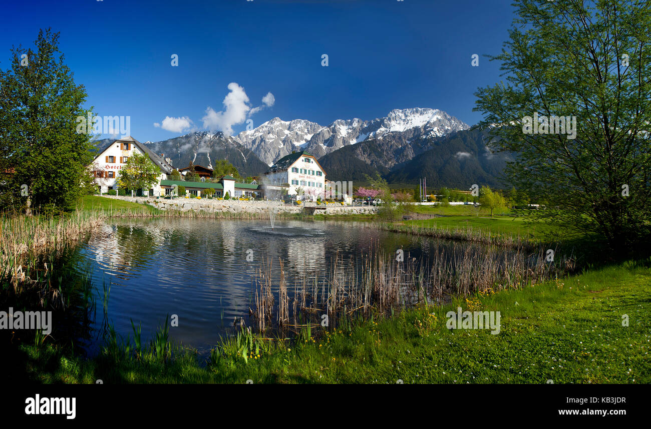 Austria, Tyrol, spring at the Hotel Schwarz in Mieming, - Stock Image