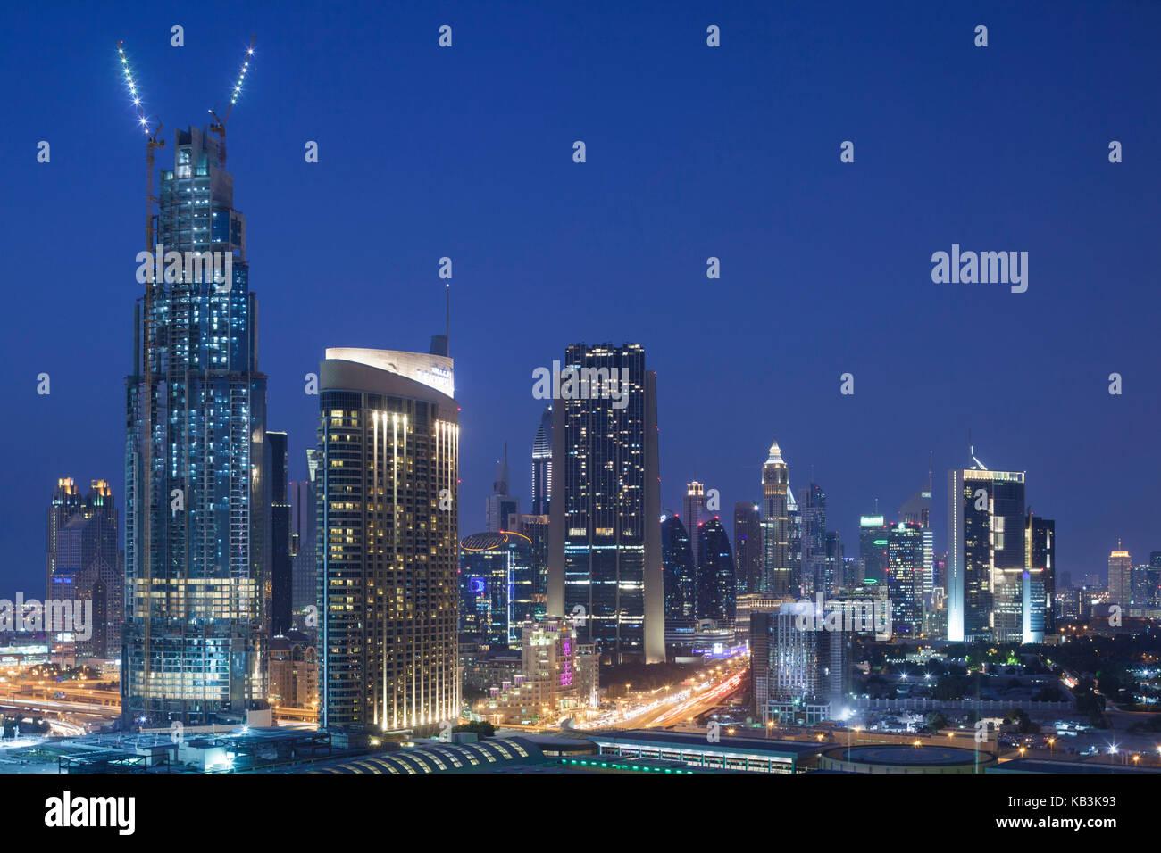 UAE, Dubai, Downtown Dubai, Downtown hi rise buildings, elevated view - Stock Image