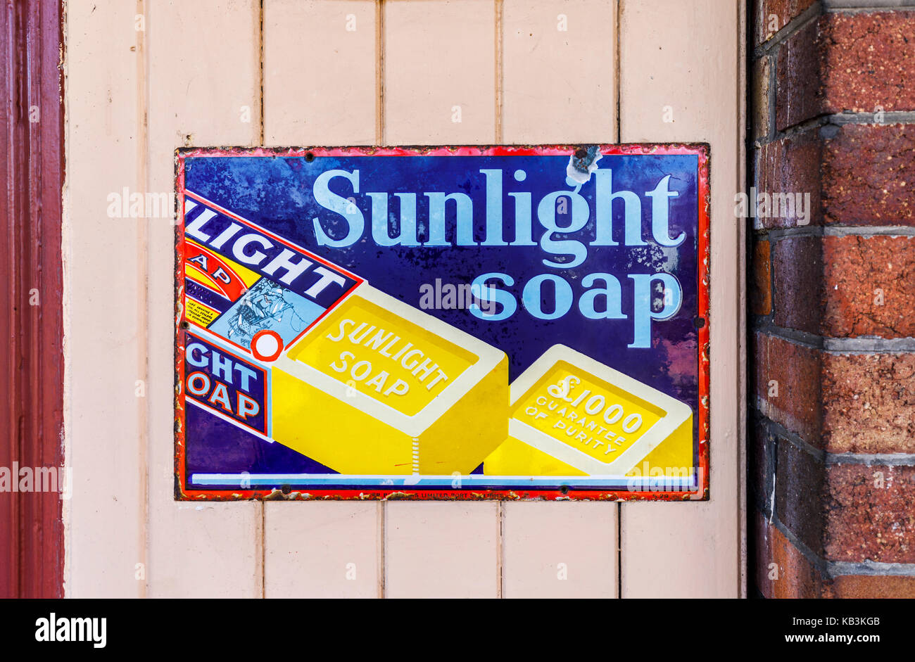 Vintage enamel Sunlight Soap sign at East Sussex Railway heritage steam railway, Tenderden Town Station, Kent, south - Stock Image