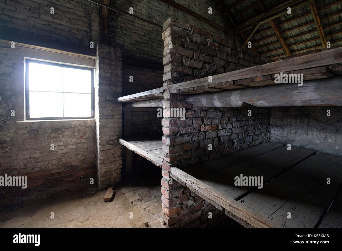 Prisoners barracks at Auschwitz II Birkenau WWII Nazi concentration camp, Poland - Stock Image