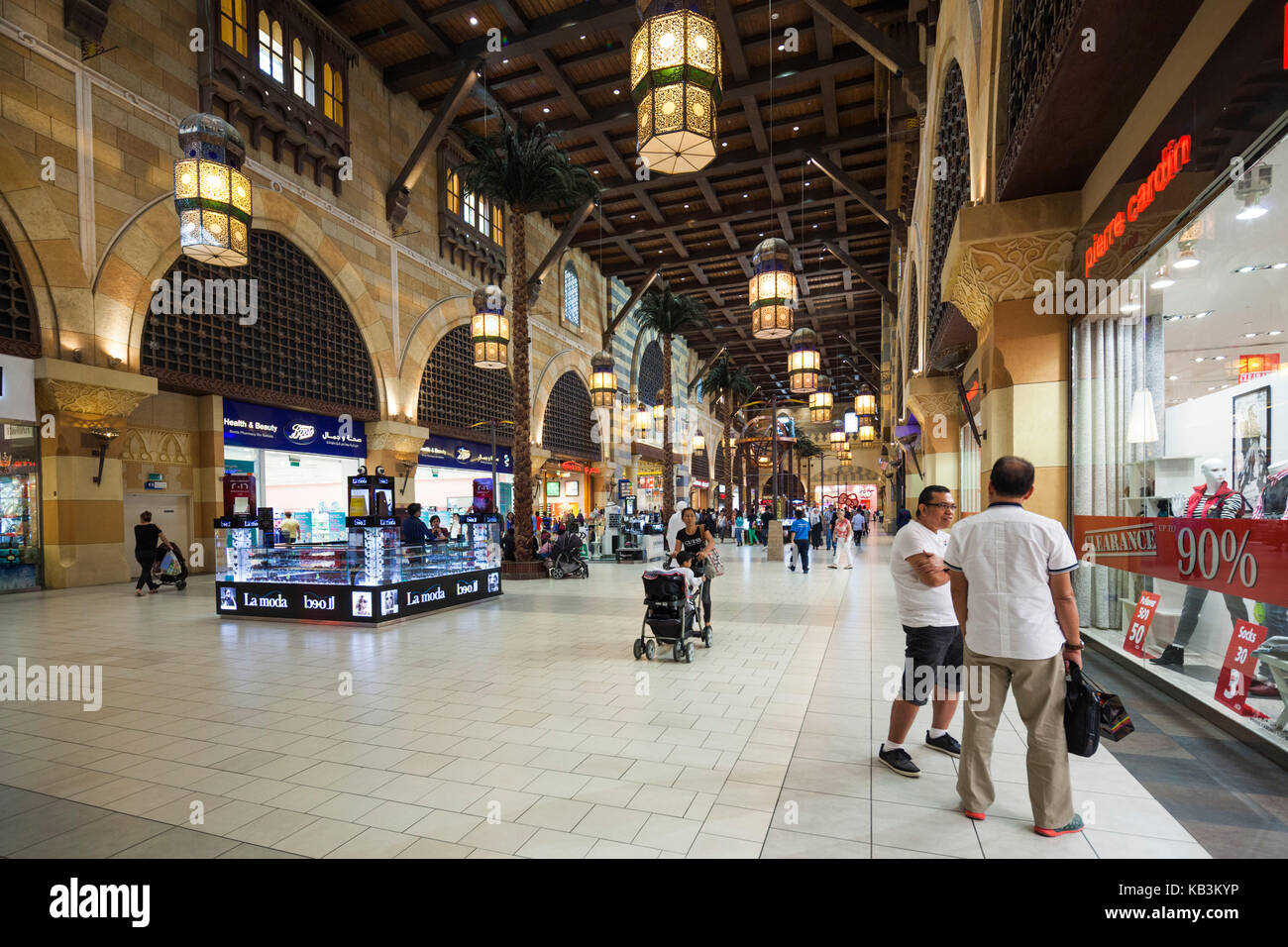 UAE, Dubai, Western Dubai, Ibn Battuta Mall, shopping mall built with six courts representing voyages by 14th century - Stock Image