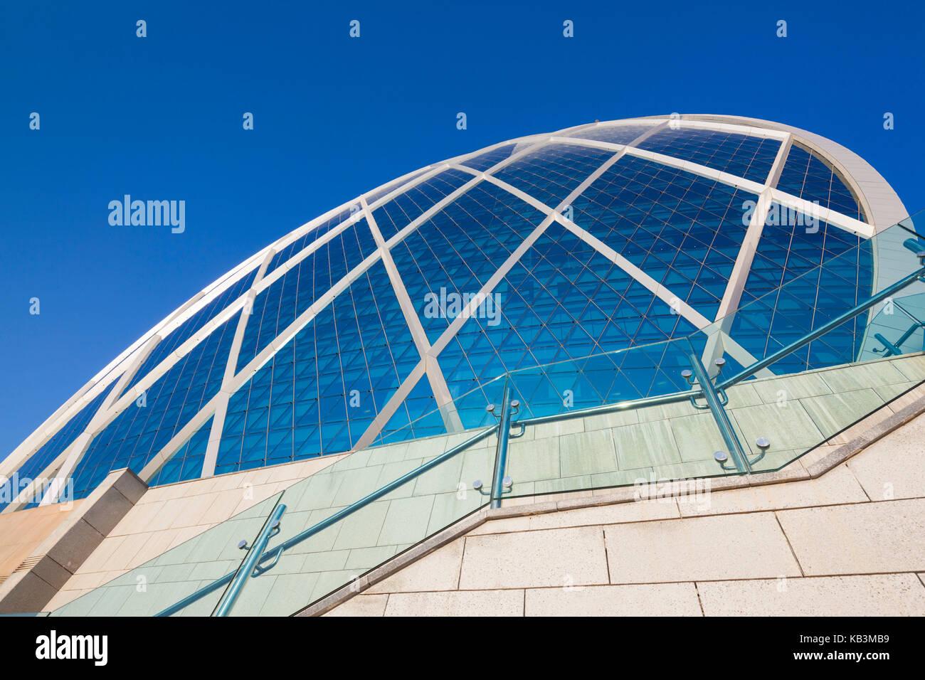 UAE, Abu Dhabi, Al Raha Beach, circular office building, headquarters of the Aldar Company, real estate developers - Stock Image