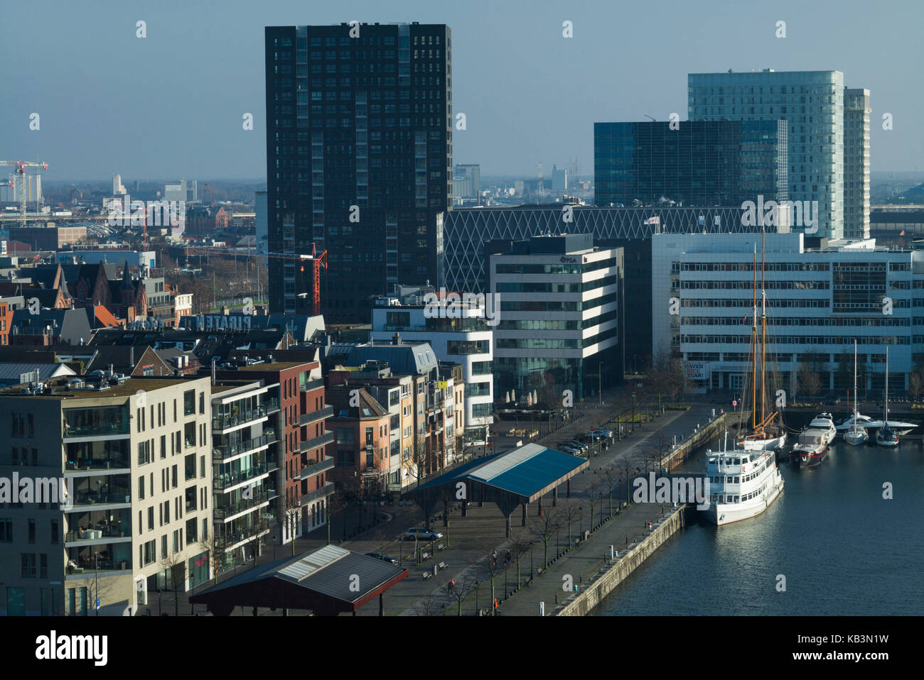 Belgium, Antwerp, elevated view of the newly renovated 't Eilandje docklands - Stock Image