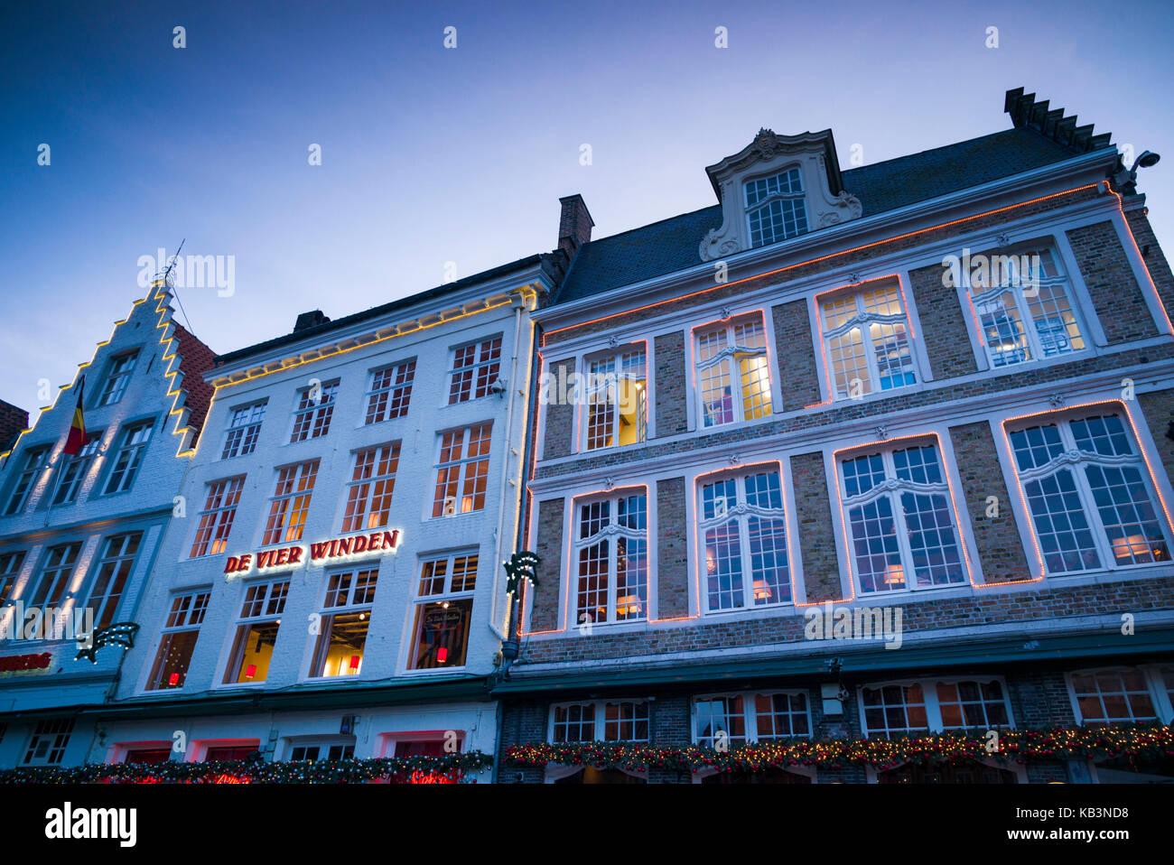 Belgium, Bruges, The Markt, market square buidings, dusk - Stock Image
