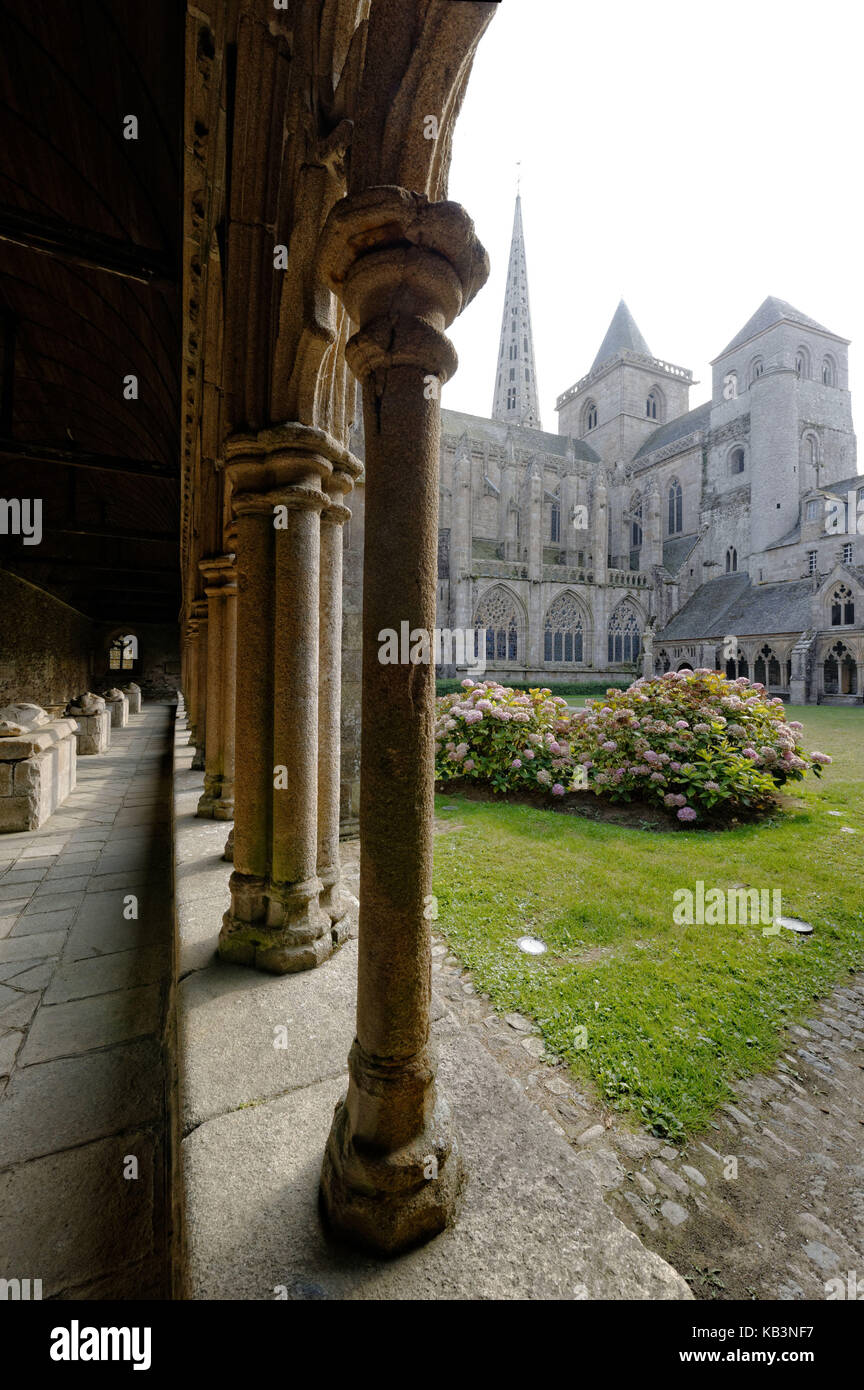 France, Cotes d'Armor, Treguier, Saint-Tugdual cathedral, the cloister in flamboyant gothic style from 1461 - Stock Image