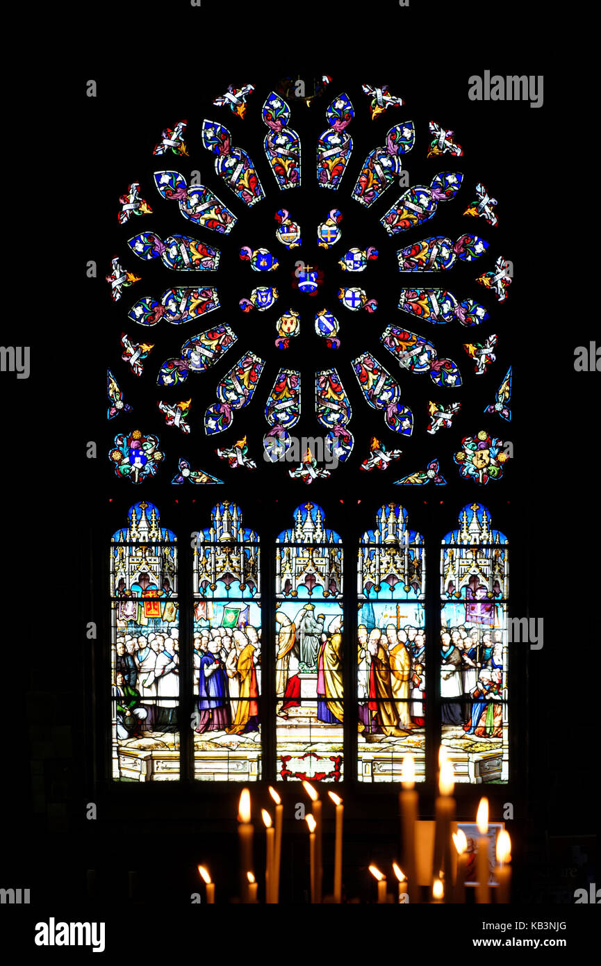 France, Finistere, Le Folgoet, Notre Dame du Folgoet basilica, stained glass of the Cross chapell - Stock Image