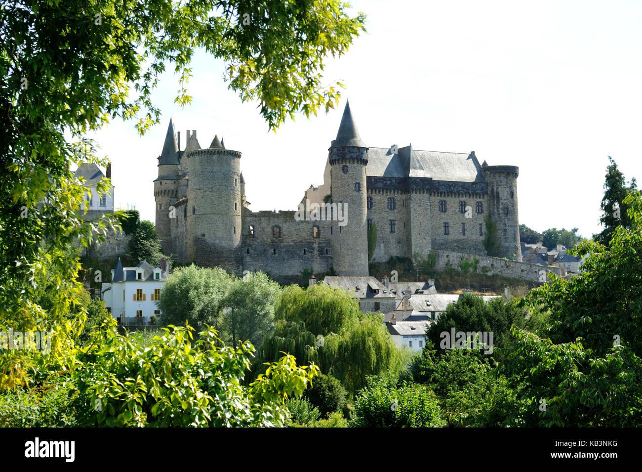 France, Ille-et-Vilaine, Vitré, stop on the Way of St James, the castle - Stock Image